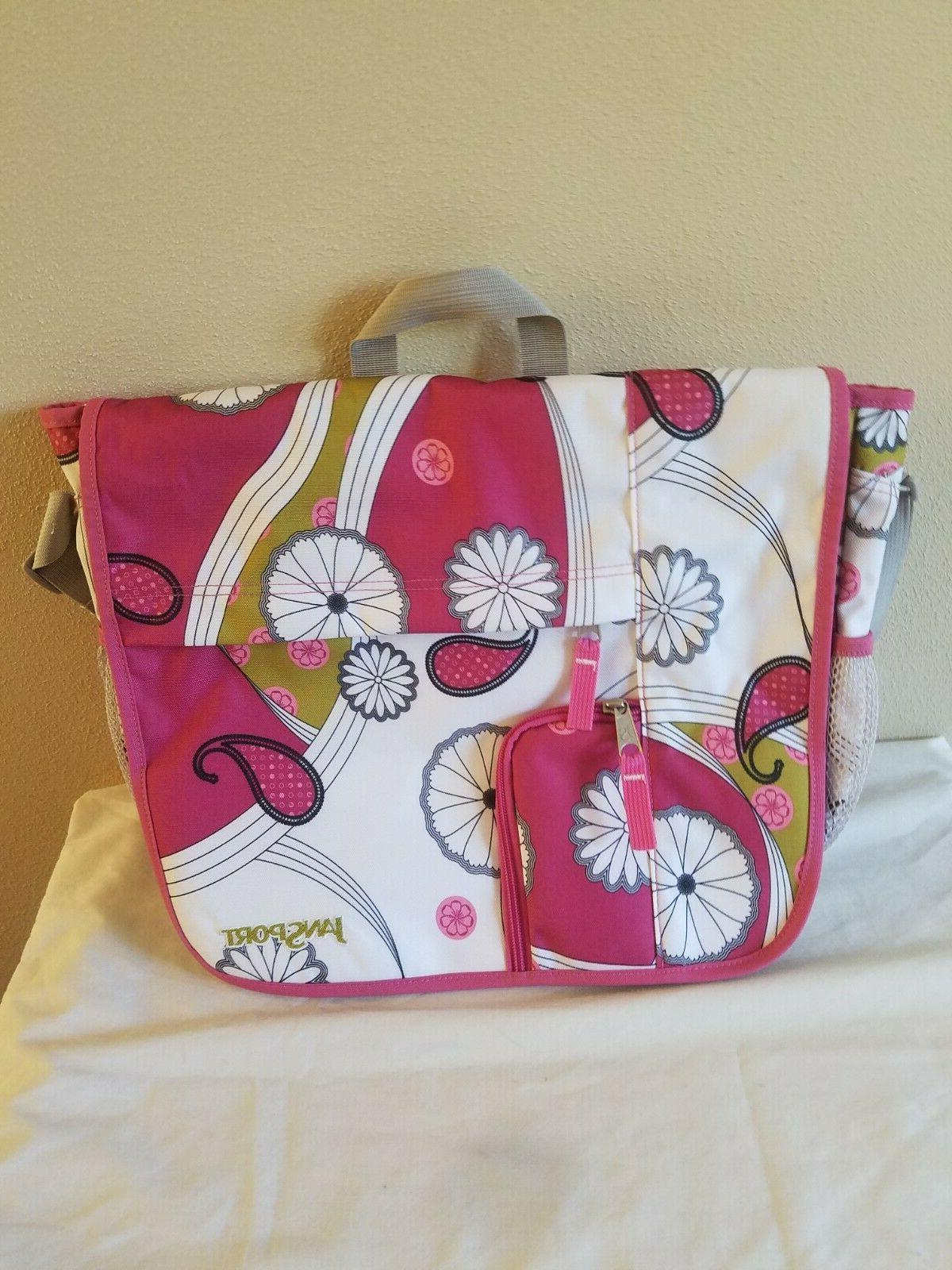 white and pink floral messenger bag