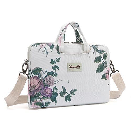 white camellia canvas laptop shoulder