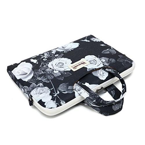Canvaslife White Flower Patten Waterproof Laptop Shoulder Messenger Bag Sleeve 11 Inch 13 Laptop Macbook Pro /12/ 13