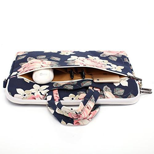 Canvaslife White Rose Patten Canvas Laptop Bag Case Sleeve 14 Briefcase Inch
