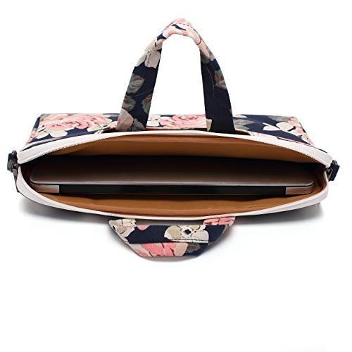 Canvaslife White Rose Canvas Shoulder Messenger Bag 14 Inch 15 Laptop 15 Briefcase Inch