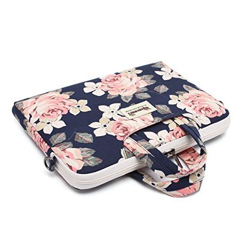 Canvaslife White Canvas Laptop Shoulder Bag for 14 Inch Laptop Case Briefcase 15.6