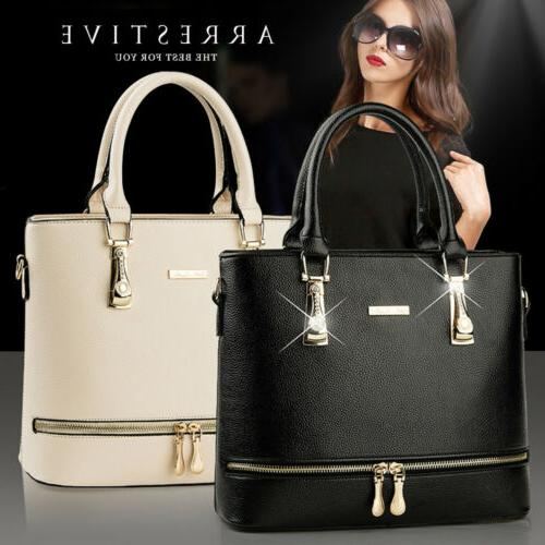 Women Lady Leather Handbag Tote Elegant Zipper Crossbody Mes