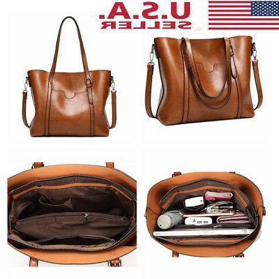 women oil wax leather tote messenger handbag