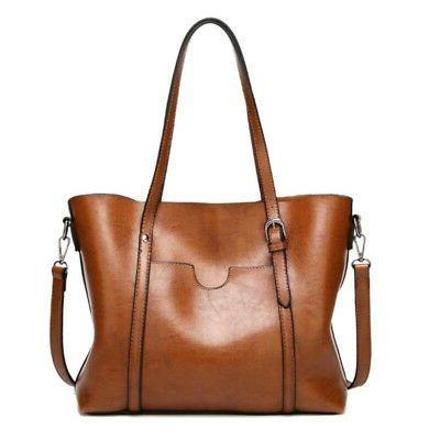 Women Wax Tote Messenger Large Handbag Shoulder