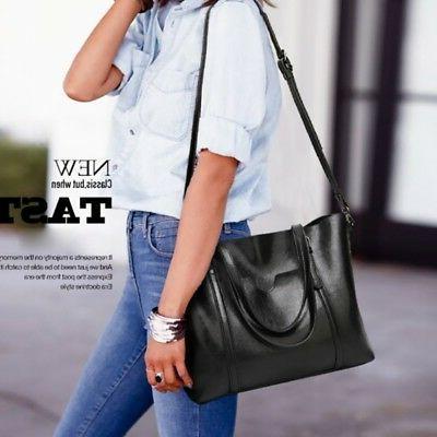 Women Wax Leather Tote Messenger Large Handbag Shoulder Bag