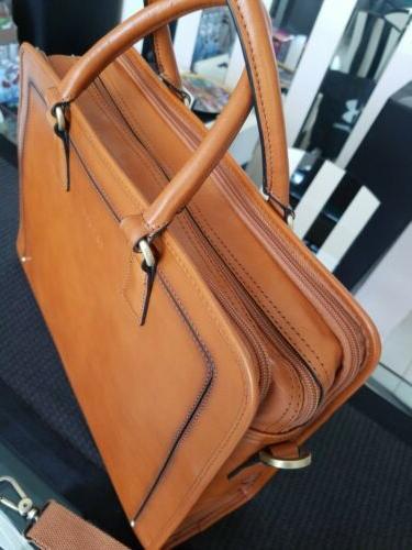 """Women's Full Leather Messenger Satchel 14"""" Case NEW"""