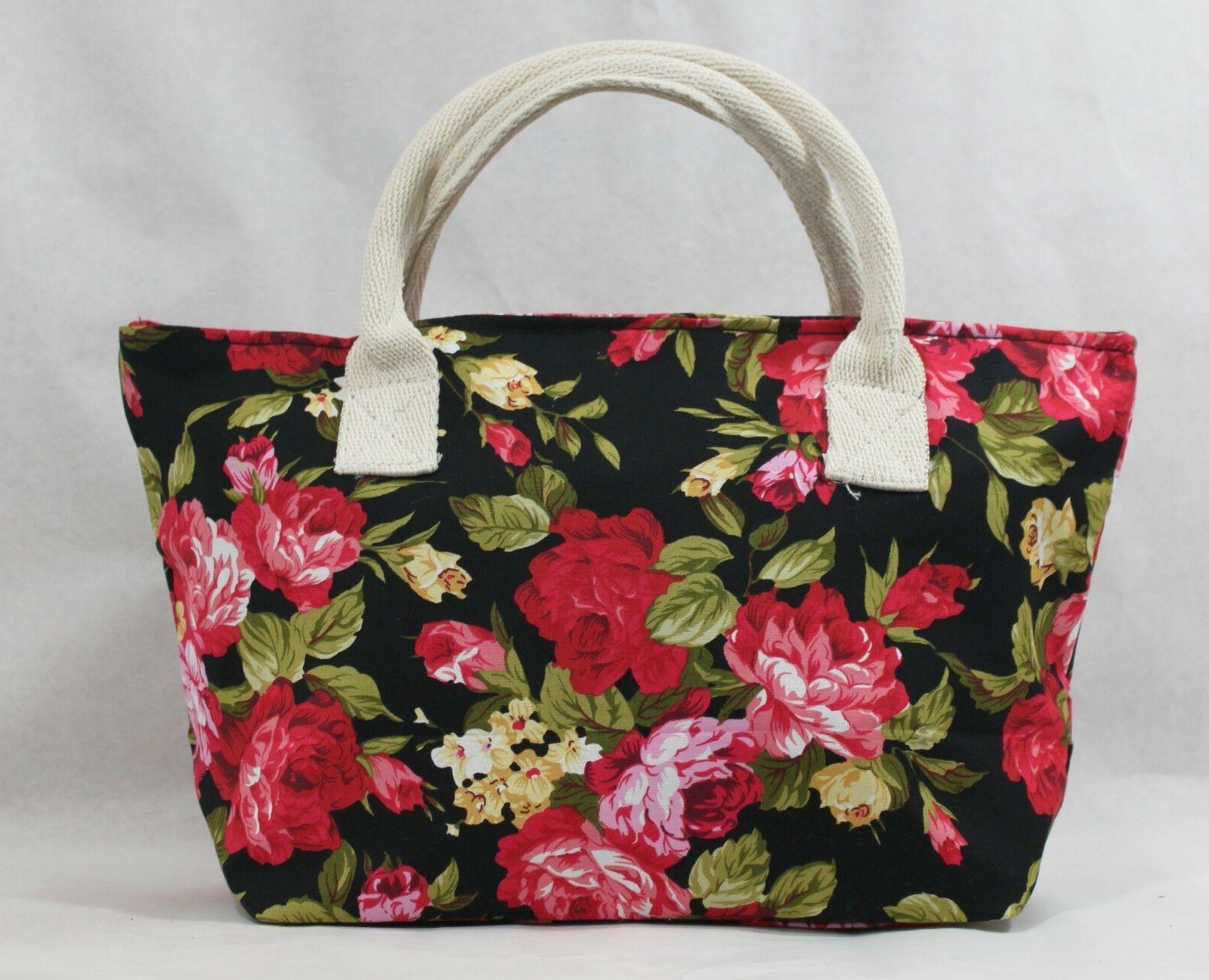 Women's Ladies Canvas Floral Handbag Tote Purse Messenger Ho