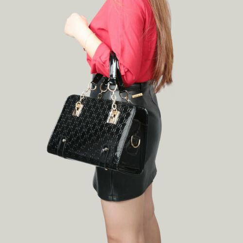 Women's Leather Handbag Bags Tote Purse Messenger Hobo Bag Black