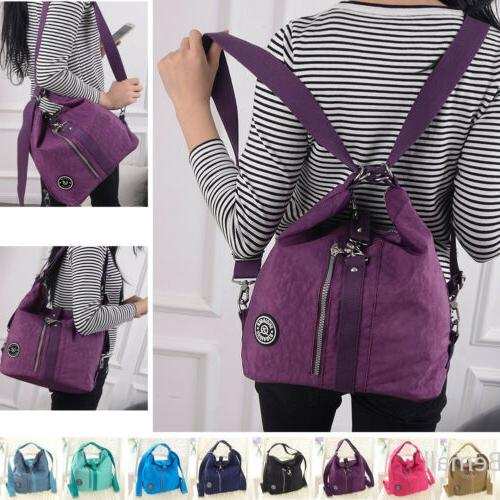 Womens Casual Tote Handbag Water Resistant Nylon Backpack Ba