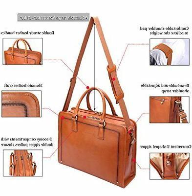 Banuce Womens Full Leather Briefcase Messenger Bag Laptop