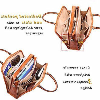 Banuce Leather Messenger Satchel Bag 14 Laptop