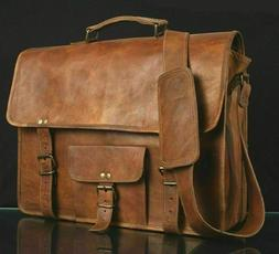 LAPTOP Bags Mens GENUINE Vintage Brown Leather MESSENGER SHO