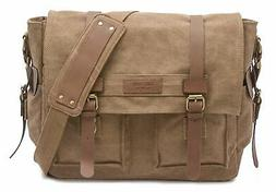 Laptop Messenger Bag, Brown - Canvas Laptops up to 15.6 Inch