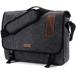 17.3 Inch Laptop Messenger Bag, Vintage Canvas Shoulder Bag