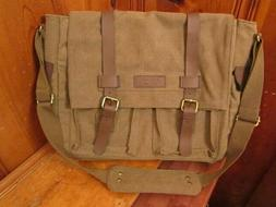 Sweetbriar Laptop Messenger Bag Briefcase Brown Canvas Leath