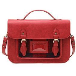 ECOSUSI Laptop Messenger Bag for Women Vintage PU Leather Br