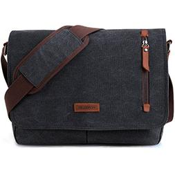 14 Inch Laptop Messenger Bag For Men And Women,Canvas Leathe