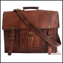 "Laptop Messenger Bag 20"" Real Vintage Leather Office Handmad"