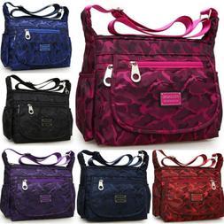 Large Womens Nylon Shoulder Messenger Casual Travel Backpack