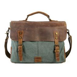 """Leather&Canvas Men's 14"""" Laptop Briefcase Messenger Should"""