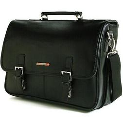 Alpine Swiss Leather Briefcase Laptop Case Messenger Bag Bla