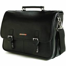Alpine Swiss Leather Briefcase Laptop Case Messenger Bag *1