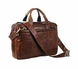 Berchirly Leather Laptop Bag 15inch Waxed Oil Shoulder Messe