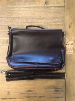 Berchirly Leather Laptop Bag, Waxed Oil Shoulder Messenger B