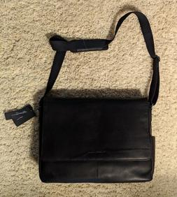 Kenneth Cole Reaction Leather Laptop Messenger Bag Black - N