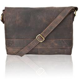 Leather Laptop Messenger Bag for Men - Premium Office Briefc