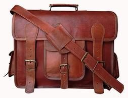 Vintage Leather Messenger Bag Briefcase / Fits upto 15.6 Inc