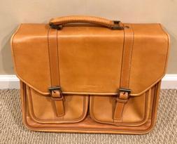 Kenneth Cole Leather Messenger Bag Briefcase Flap-olean Bona