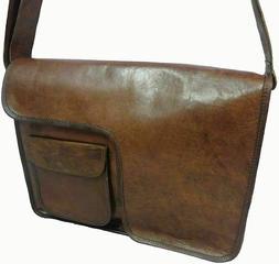 """Leather Messenger Shoulder Bag Cross Body Laptop Case 15.5"""""""