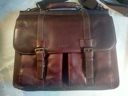 Kenneth Cole Reaction Leather Portfolio Messenger Laptop Att