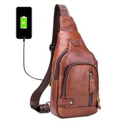 Leather Sling Bag Hiking Daypack for Men Crossbody Shoulder