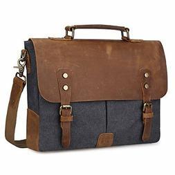 S-ZONE Leather Vintage Canvas Laptop Messenger Bag Adjustabl
