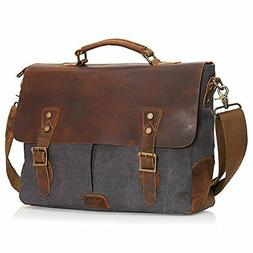Wowbox Leather Vintage Messenger Bag for 15.6 inch laptops,S