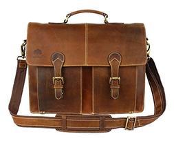 Leather Shoulder-Briefcase Messenger Bag Mens Handmade 16 in