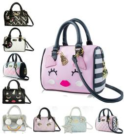 Luv Betsey Johnson Mini Barrel Purse Crossbody Satchel Messe