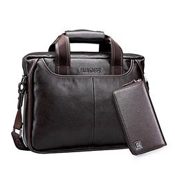 TopWigy Man Leather Briefcase Professional Laptop Handbag De