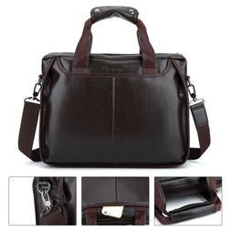Men Briefcase Leather Business Shoulder Bag Messenger Satche