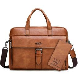 Men Briefcase Travel Handbag Split Leather Laptop Messenger