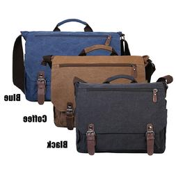 "Men Canvas 15"" Laptop Shoulder Messenger Bag Office Briefcas"