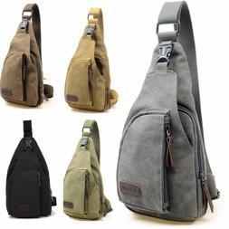 Men Canvas Bag Pack Travel Hiking Cross Body Messenger Shoul
