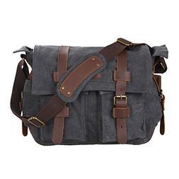 14df4f660f Kattee Leather Canvas Camera Bag Vintage DSLR SLR Messenger