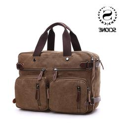 Scione Men Canvas <font><b>Bag</b></font> Leather Briefcase