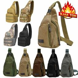 Men Canvas Tactical Sling Chest Bag Assault Pack Messenger S