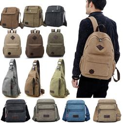 men canvas vintage backpack crossbody satchel shoulder