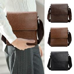 Men Casual Messenger Bag PU Leather Shoulder Flap Fashion Bu